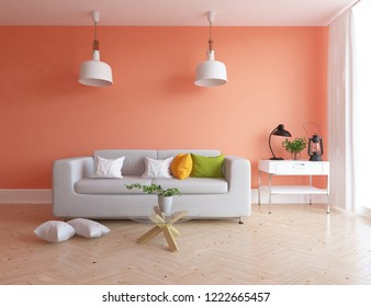Idea of a orange scandinavian living room interior with sofa, dresser on the wooden floor and decor on the large wall and white landscape in window. Home nordic interior. 3D illustration