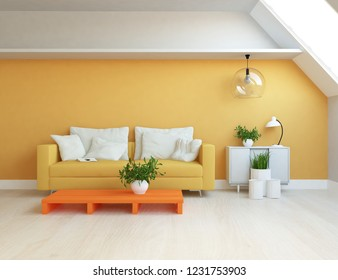 Idea of a orange scandinavian living room interior with sofa, dresser, vases on the wooden floor and decor on the large wall and white landscape in window. Home nordic interior. 3D illustration