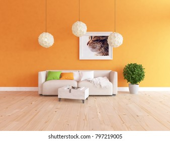 Idea of a orange scandinavian living room interior with sofa, plant on the wooden floor and picture on the large wall and white landscape in window. Home nordic interior. 3D illustration