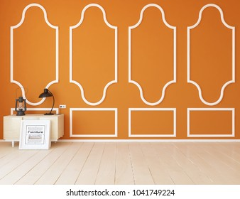 Idea of a orange scandinavian room interior with dresser on the wooden floor and classic decor on the large wall and white landscape in window. Home nordic interior. 3D illustration
