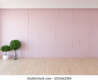 Idea of a pink empty scandinavian room interior with plants in vases on the wooden floor and large wall and white landscape in window. Home nordic interior. 3D illustration