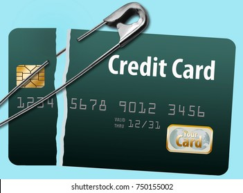 The idea of repairing your credit is illustrated with safety pin holding together a credit card. Isolated.