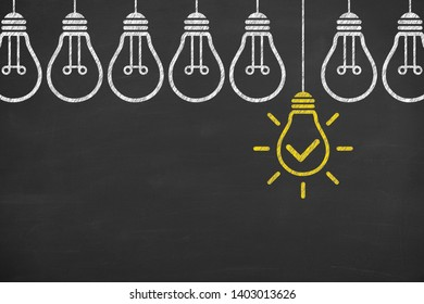 Idea solution concepts with light bulbs on a chalkboard background