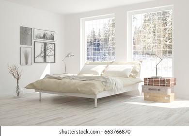 Idea of white bedroom with winter landscape in window. Scandinavian interior design. 3D illustration