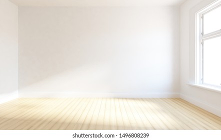 Idea of a white empty minimalist room interior with light on the wooden floor and large wall and white landscape in window. Background interior. Home nordic interior. 3D illustration