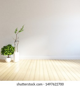 Idea of a white empty minimalist room interior with plants in vases on the wooden floor and large wall and white landscape in window.  Background interior. Home nordic interior. 3D illustration