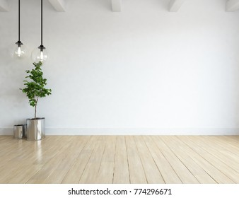 Idea of white empty room with vases and vintage wooden floor and white landscape in window. Scandinavian interior design. 3D illustration