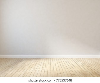 Idea of white empty room with vintage wooden floor and large wall and white landscape in window. Scandinavian interior design. 3D illustration