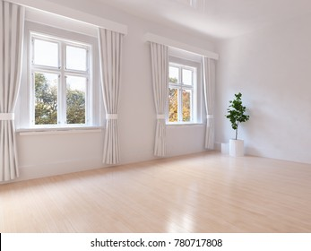 Idea of a white empty scandianvian room interior with autumn landscape in window and plant on wooden floor. Home nordic interior. 3D illustration