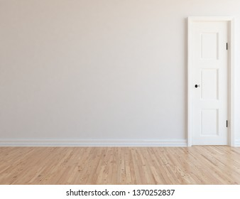 Idea of a white empty scandinavain room interior with door, wooden floor and large wall and white landscape in window. Background interior. Home nordic interior. 3D illustration