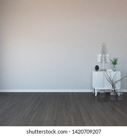 Idea of a white empty scandinavain room interior with dresser, vases on the wooden floor and large wall and white landscape in window. Background interior. Home nordic interior. 3D illustration