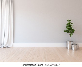 Idea of a white empty scandinavian room interior with vases on the wooden floor and curtains on the large wall and white landscape in window. Home nordic interior. 3D illustration