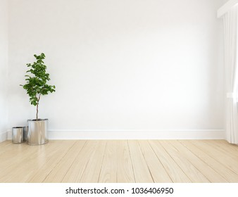 Idea of a white empty scandinavian room interior with plants in vases on the wooden floor and large wall and white landscape in window with curtains. Home nordic interior. 3D illustration