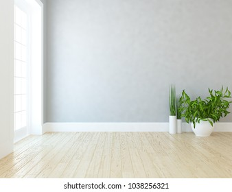 Idea of a white empty scandinavian room interior with plants in vases on the wooden floor and large wall and white landscape in window. Home nordic interior. 3D illustration