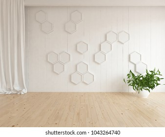 Idea of a white empty scandinavian room interior with plant in vase on the wooden floor and curtains on the large wall and white landscape in window. Home nordic interior. 3D illustration