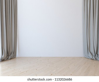 Idea of a white empty scandinavian room interior with wooden floor and curtains on the large wall and white landscape in window. Home nordic interior. 3D illustration