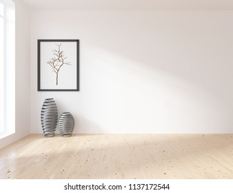 Idea of a white empty scandinavian room interior with vases on the wooden floor and picture on the large wall and white landscape in window. Home nordic interior. 3D illustration