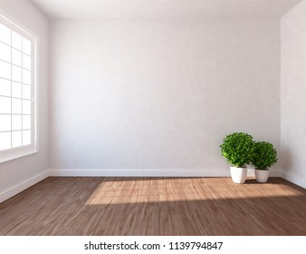 Idea of white empty scandinavian room interior with vases on the wooden floor and large wall and white landscape in window. Home nordic interior. 3D illustration