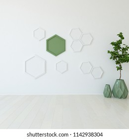 Idea of a white empty scandinavian room interior with vases on the wooden floor and large wall and white landscape in window. Hone nordic interior. 3D illustration