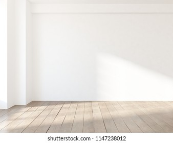 Idea of a white empty scandinavian room interior with wooden floor and large wall and white landscape in window. Home nordic interior. 3D illustration