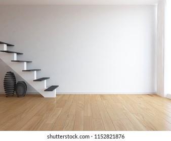 Idea of a white empty scandinavian room interior with stairs, vases on the wooden floor and large wall and white landscape in window. Home nordic interior. 3D illustration