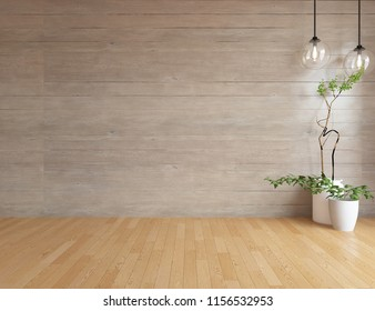 Idea of a white empty scandinavian room interior with vases on the wooden floor and large wooden wall and white landscape in window. Home nordic interior. 3D illustration