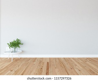 Idea of a white empty scandinavian room interior with vase on the wooden floor and large wall and white landscape in window. Home nordic interior. 3D illustration