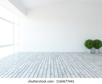 Idea of a white empty scandinavian room interior with vases on the wooden floor and large wall and white landscape in window. Home nordic interior. 3D illustration