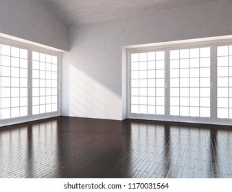 Idea of a white empty scandinavian room interior with wooden floor and large wall and white landscape in windows. Home nordic interior. 3D illustration