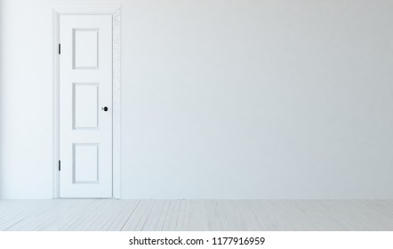 Idea of a white empty scandinavian room interior with door, wooden floor and large wall and white landscape in window. Home nordic interior. 3D illustration