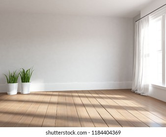 Idea of a white empty scandinavian room interior with vases on the wooden floor and large wall and white landscape in window with curtains. Home nordic interior. 3D illustration