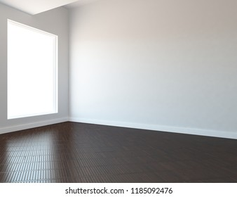 Idea of a white empty scandinavian room interior with wooden floor and large wall and white landscape in window. Home nordic interior . 3D illustration