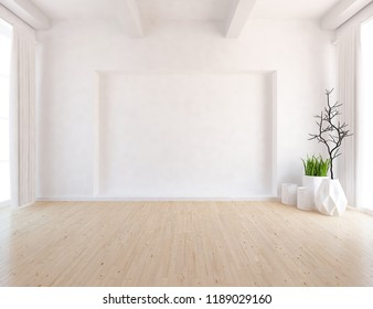 Idea of a white empty scandinavian room interior with vases on the wooden floor and large wall and white landscape in windows with curtains. Home nordic interior. 3D illustration