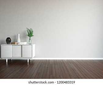 Idea of a white empty scandinavian room interior with dresser on the wooden floor and large wall and white landscape in window. Home nordic interior. 3D illustration