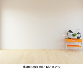 Idea of a white empty scandinavian room interiro with dresser on the wooden floor and large wall and white landscape in window. Home nordic interior. 3D illustration