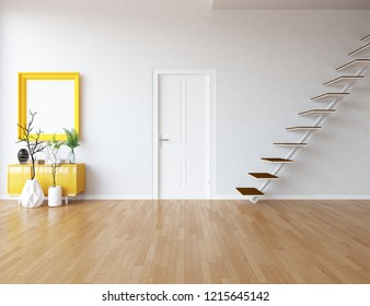 Idea of a white empty scandinavian room interior with stairs, dresser, vases on the wooden floor and decor on the large wall and white landscape in window. Home nordic interior. 3D illustration