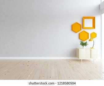 Idea of a white empty scandinavian room interior with dresser on the wooden floor and decor on the large wall and white landscape in window. Home nordic interior. 3D illustration