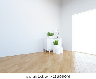 Idea of a white empty scandinavian room interior with dresser, vases on the wooden floor and large wall and white landscape in window. Home nordic interior. 3D illustration