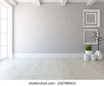 Idea of a white empty scandinavian room interior with vases on the wooden floor and frames on the large wall and white landscape in window. Home nordic interior. 3D illustration