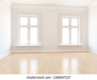 Idea of a white empty scandinavian room interior with wooden floor and decor on the large wall and white landscape in windows. Home nordic interior. 3D illustration