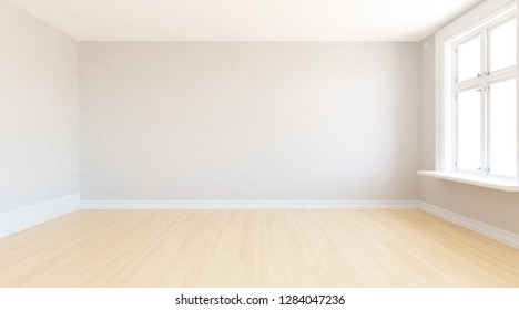 Idea of a white empty scandinavian room interior with wooden floor and decor on the large wall and white landscape in window. Home nordic interior. 3D illustration