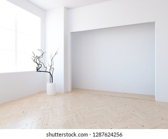 Idea of a white empty scandinavian room interior with vase on the wooden floor and large wall and white landscape in window. Home nordic interior. Background interior. 3D illustration
