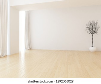 Idea of a white empty scandinavian room interior with vase on the wooden floor and large wall and white landscape in window with curtains. Home nordic interior. 3D illustration