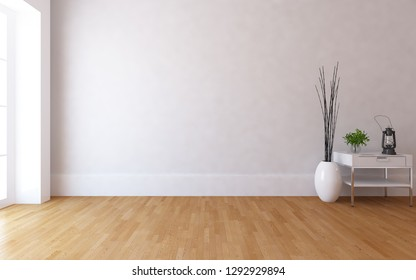 Idea of a white empty scandinavian room interior with dresser, vase on the wooden floor and large wall and white landscape in window. Background interior. Home nordic interior. 3D illustration
