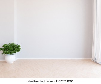 Idea of a white empty scandinavian room interior with vase on the wooden floor and large wall and white landscape in window with curtains. Background interior. Home nordic interior. 3D illustration