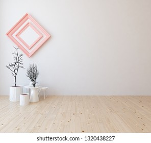 Idea of a white empty scandinavian room interior with vases on the wooden floor and large wall and white landscape in window. Background interior. Home nodic interior. 3D illustration