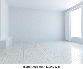 Idea of a white empty scandinavian room interior with wooden floor and large wall and white landscape in window. Background interior. Home nodic interior. 3D illustration