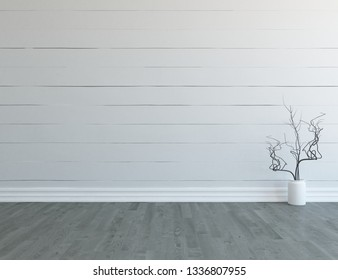 Idea of a white empty scandinavian room interior with vase on the wooden floor and large wall and white landscape in window. Background interior. Home nordic interior. 3D illustration