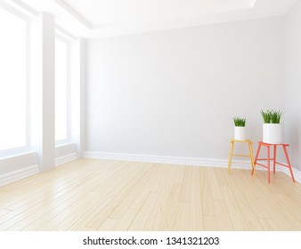 Idea of a white empty scandinavian room interior with vases on the wooden floor and large wall and white landscape in windows. Background interior. Home nordic interior. 3D illustration