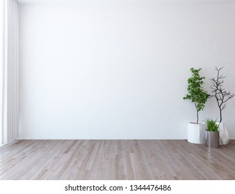 Idea of a white empty scandinavian room interior with plants in vases on the wooden floor and lagre wall and white landscape in window. Background interior. Home nordic interior. 3D illustration
